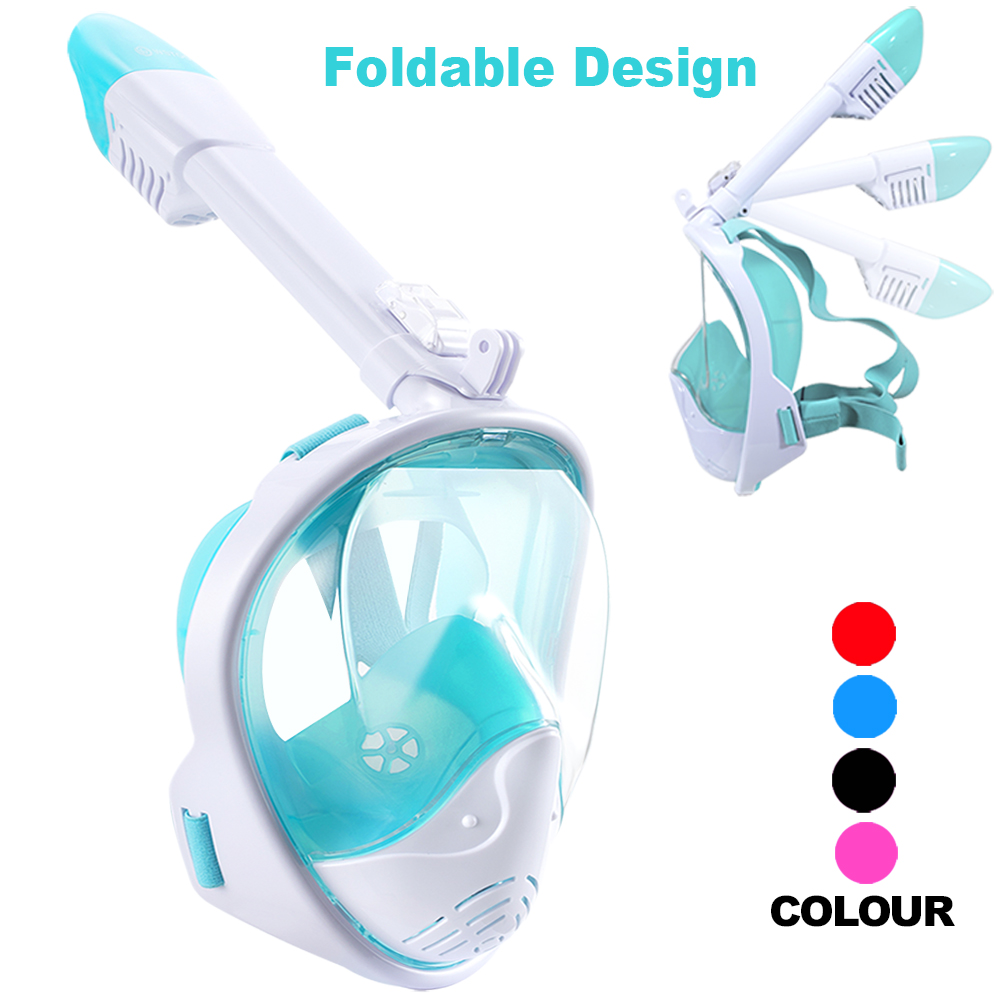 180 Panoramic Anti-Fog Anti-Leak Diving Mask with Safety Breathing System for Adult and Kids Thirty seven DAYS Full Face Snorkel Mask//Snorkeling Mask with Detachable Camera Mount